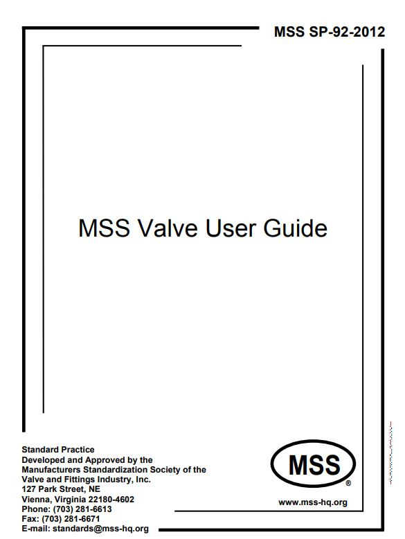 MSS SP 92 : MSS Valve User Guide