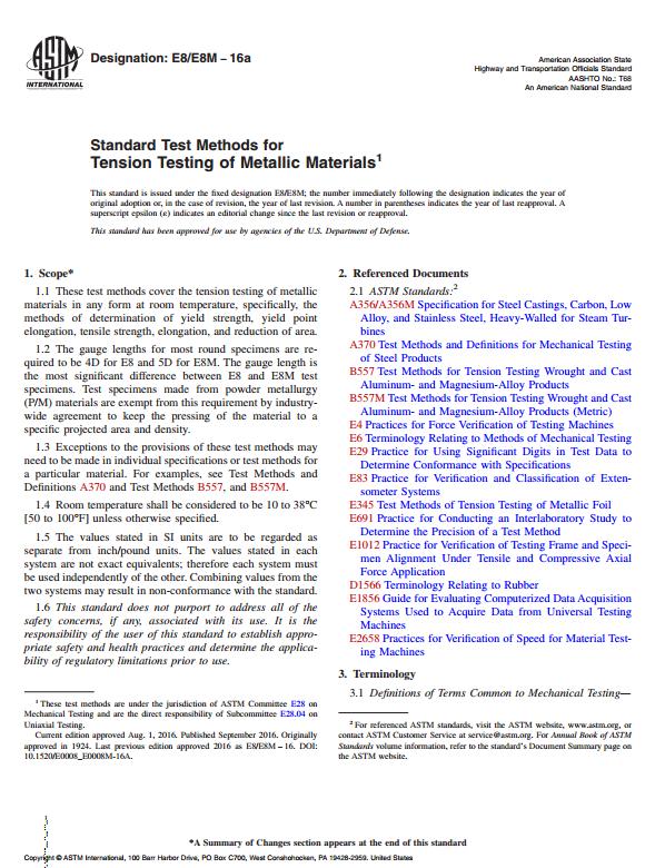 ASTM E8/E8M : Standard Test Methods for Tension Testing of