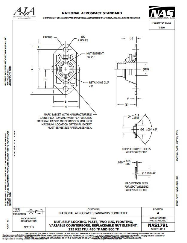 Nas1791 Nut Self Locking Plate Two Lug Floating Variable