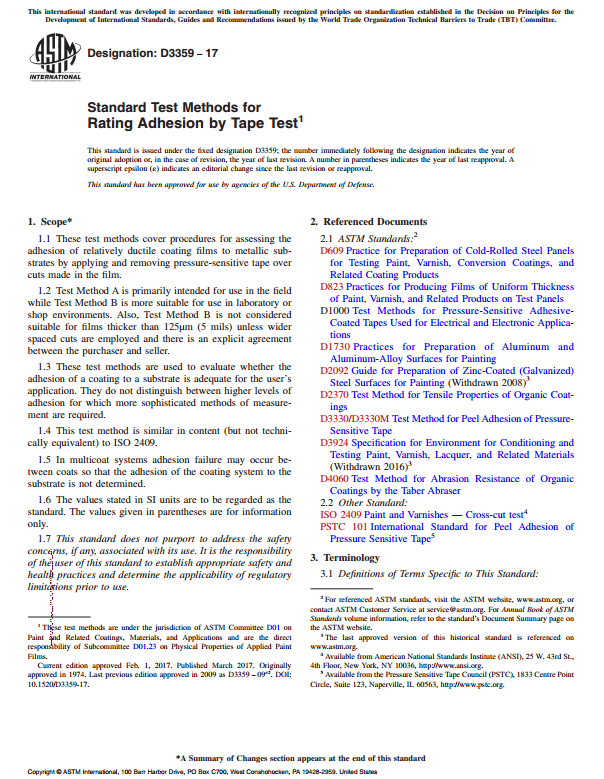 Astm D3359 Standard Test Methods For Rating Adhesion By Tape Test