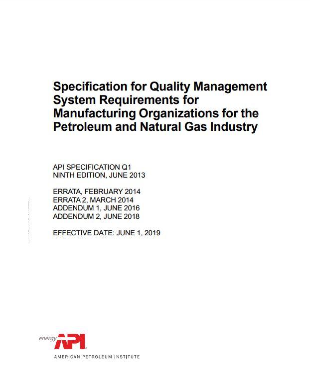 API SPEC Q1 : Specification for Quality Management System