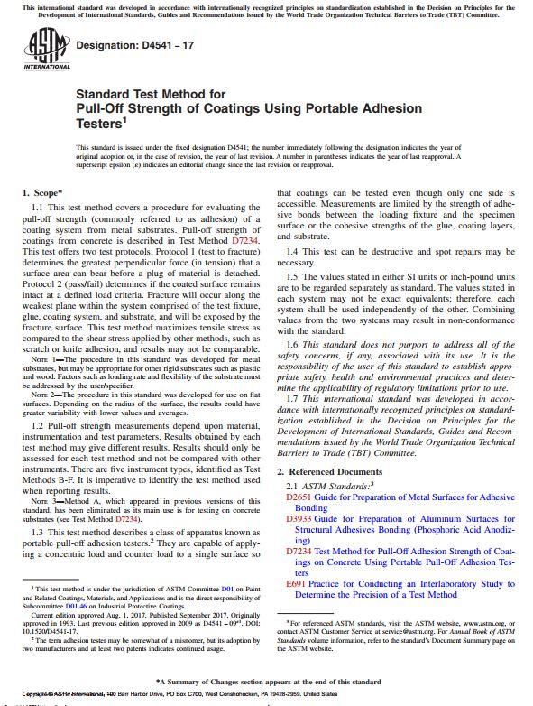 ASTM D4541 : Standard Test Method for Pull-Off Strength of