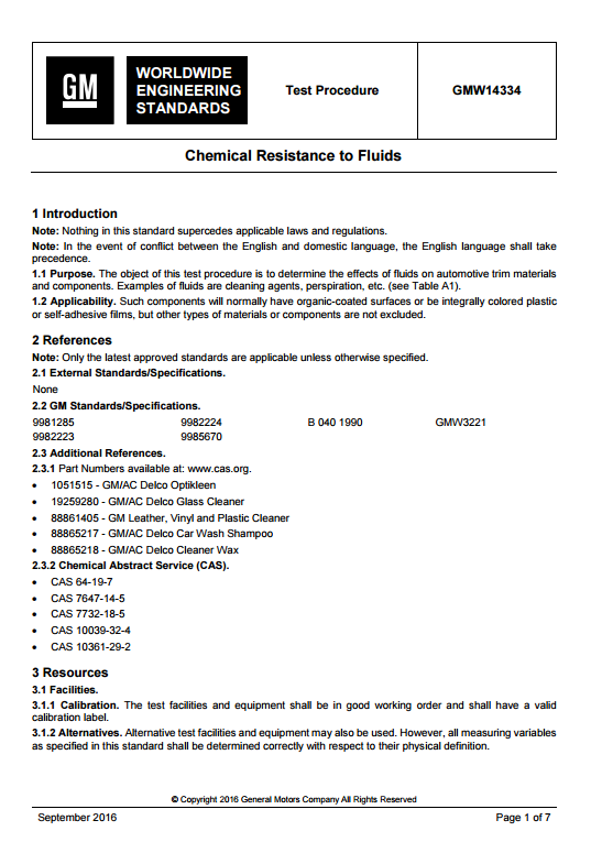 GMW14334 Chemical Resistance to Fluids