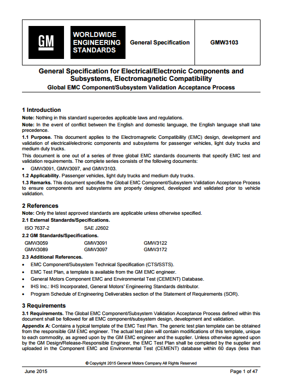 gmw3103 general specification for electrical electronic ponents Electrical Plan Notes close