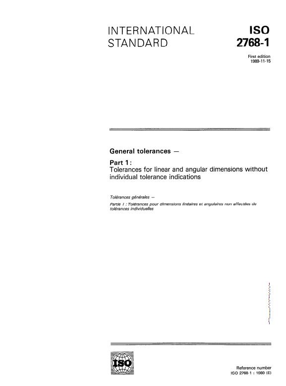 ISO 2768-1 : General Tolerances - Part 1: Tolerances for