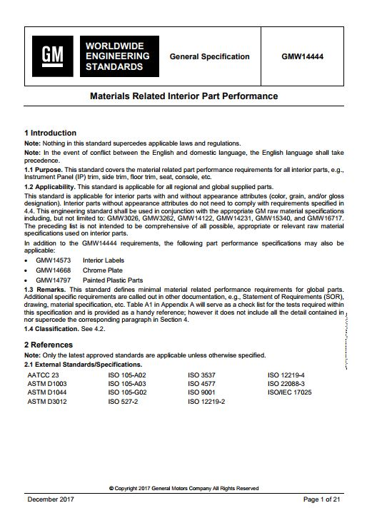 GMW14444 : Materials Related Interior Part Performance
