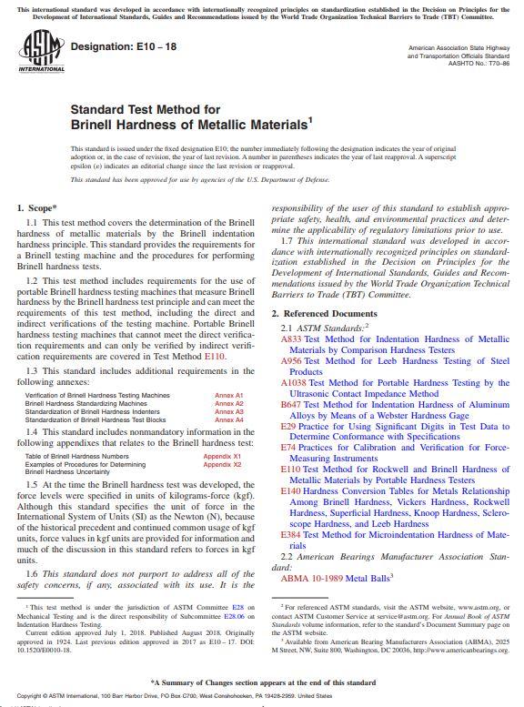 ASTM E10 : Standard Test Method for Brinell Hardness of Metallic