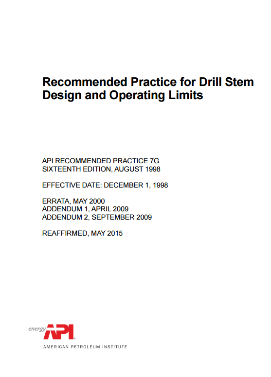API RP 7G : Recommended Practice for Drill Stem Design and Operating