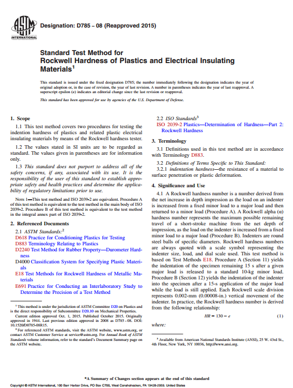 ASTM D785 : Standard Test Method for Rockwell Hardness of