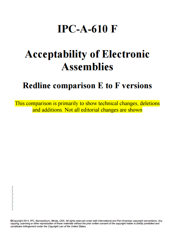 IPC-A-610 : Acceptability of Electronic Assemblies